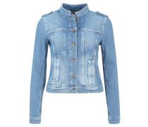 Jeansjacke, Used-Look, Schulterriemen, Blau