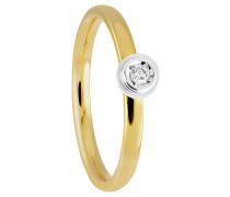 Diamant-Ring, Gold 375, Bicolor