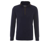 Pullover, Reißverschluss, Baumwolle, strukturiert, Blau