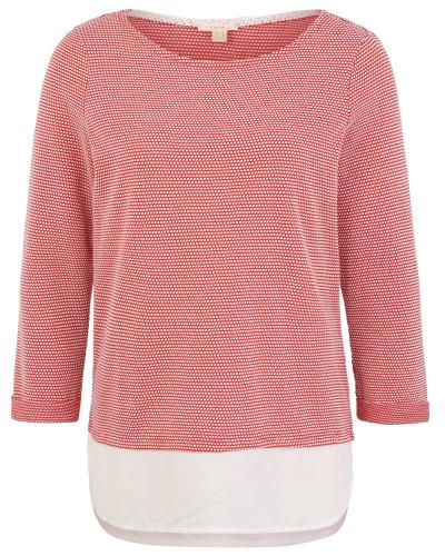 Sweatshirt, 3/4-Arm, gepunktet, Blusensaum, Rundhalsausschnitt