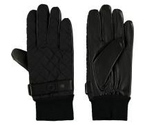 Handschuhe, Strickbündchen, Leder, gesteppte Optik