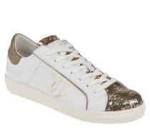 Sneaker, Glattleder, Metallic-Optik, Glitzer-Lasche