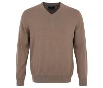 Pullover, Feinstrick, Baumwolle, V-Ausschnitt, Braun