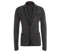 Strickjacke, Wolle, Reverskragen, Kontrastblenden, Grau