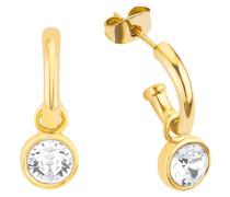 Halbcreolen mit Kristall gelbvergoldet