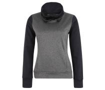 Langarmshirt, meliert, Logo-Print, Eingrifftaschen, Grau