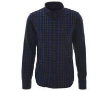 Freizeithemd, Karo-Muster, Button-Down-Kragen, Blau