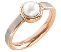 Damenring Reintitan mit Perle, Rose-Silber 0137-02