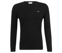 Pullover, Bordüren-Ausschnitt, Baumwolle, für Damen, Schwarz