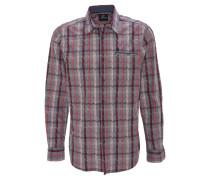 Hemd, comfort-Fit, Klappkragen, Brusttasche, gestreift, Rot