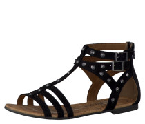 Sandalen, Reißverschluss, Nieten-Verzierung, Schwarz
