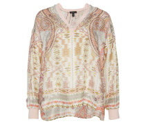 APART Bluse, Paisley-Muster, V-Ausschnitt, schimmernde Details