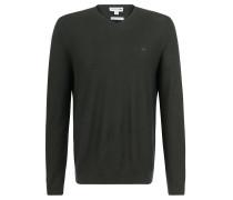 Pullover, Merino-Wolle, Sticklogo, für Herren, Grün