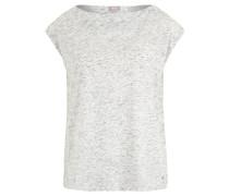 Top, Melange, überschnittene Schultern, Weiß