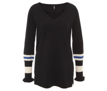 Pullover, V-Ausschnitt, gestreifte Ärmel, Rüschensaum