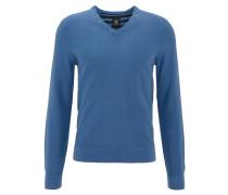 Pullover, V-Ausschnitt, Baumwolle, Waffelstrick-Optik, Blau