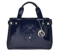 Handtasche, Logo-Prägung, Lack-Optik, Blau