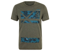 T-Shirt, Print, Melange-Optik, für Herren, Grün