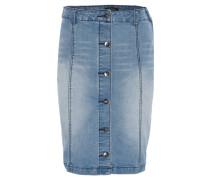 Bleistiftrock, Jeans, Knopfleiste, Blau