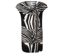 T-Shirt, Wasserfall-Ausschnitt, Muster-Mix, für Damen, Schwarz