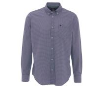 Freizeithemd, gemustert, Button-Down-Kragen, Logo-Stickerei, Blau