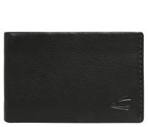 Brieftasche, Leder, Narben-Optik, Logo, Schwarz