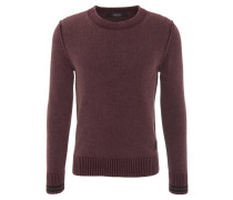 Pullover, meliert, Schulternaht-Applikationen, Rot