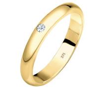 Ring Ehering Solitär Diamant 0.03 Ct. 375 Gelbgold