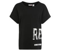 T-Shirt, für Damen, Baumwolle, Print, Schwarz
