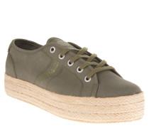 Sneaker, Bast-Besatz, Plateausohle, Canvas, Grün