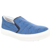 Slipper, Marken-Print, Stretcheinsatz, Blau