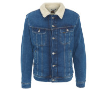 Jeansjacke, Regular Fit, Lammfell-Optik, Blau