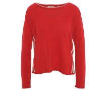 Pullover, Cashmere-Anteil, Feinstrick, seitliche Streifen, Rot
