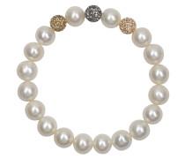 Perlenarmband mit 3 Kristallsteinen 9,5-10,0mm