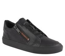 Sneaker, Reißverschlüsse, Cracked-Look, Schwarz
