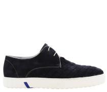 Sneaker, Wildleder, Web-Optik, Blau