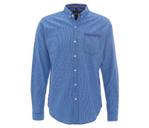 Freizeithemd, Button-Down-Kragen, Baumwolle, Blau