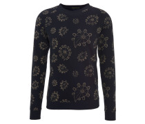 Sweatshirt, Paisley-Muster, elastische Bündchen, Schwarz