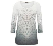 Shirt, 3/4-Arm, Rollsaum, Ornament-Muster, Strass
