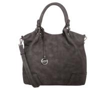 "Handtasche ""Emilia"", Lederoptik, Anhänger, Grau"
