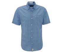Freizeithemd, Kurzarm, Brusttasche, gemustert, Blau