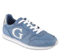 Sneaker, Schnürung, Glitzer-Details, Ziernähte, Blau
