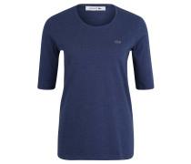 T-Shirt, Baumwolle, meliert, Stick-Emblem, Blau