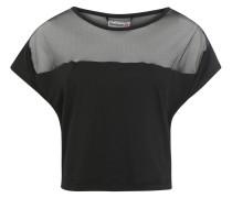 T-Shirt, Mesh-Besatz, leichtes Material, für Damen, Schwarz