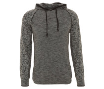 Sweatshirt, Hoodie, Strick, melange, Baumwolle, Schwarz