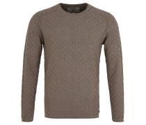 Pullover, Baumwolle, Struktur-Muster, Roll-Saum, Beige