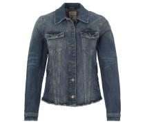 Jeansjacke, fransiger Saum, Used-Look, Blau