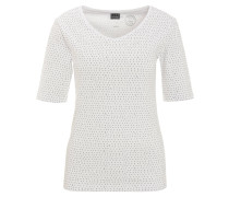 T-Shirt, Halbarm, Bio-Baumwolle, Allover-Muster, V-Ausschnitt