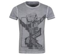 T-Shirt, Rundhalsausschnitt, Used-Optik, Designprint, Grau