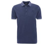 Poloshirt, uni, Logo-Stickerei, Baumwolle, Blau